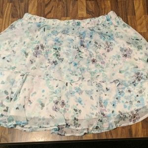 Watercolor flower patterned skirt
